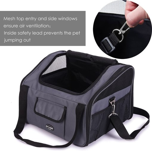 Pettom Pet Car Booster Seat Carrier Airline Approved for Dog Cat Puppy Small Animal Travel Cage