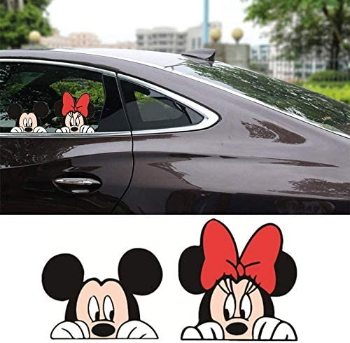 Mickey Car Decal Minnie Car Decal Mickey Mouse and Minnie Mouse Combo Decal Sticker for Car SUV Truck Windows (4'' x 8.3'', Set of 2)