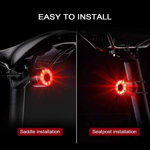 Ovetour USB Rechargeable LED Bike Tail Light,Colorful Ultra Bright Bicycle Rear Light,5 Light Modes and 7 Colors,8-50 Hours Super Long Endurance,IPX5 Waterproof,Easy Installation