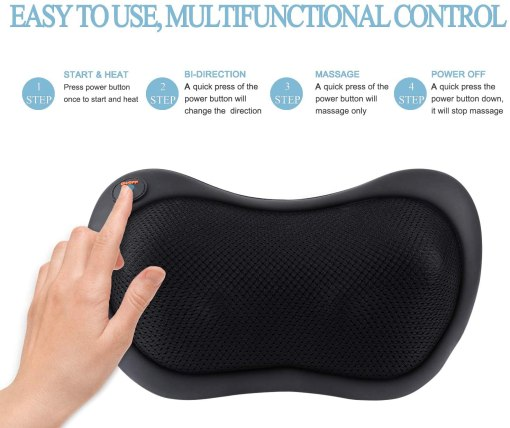 Neck Massager Pillow with Heat - Shiatsu Back and Shoulder Massager with Deep Tissue Kneading, Electric Back Massage for Full Body, Relaxation at Home, Car & Office