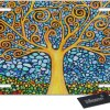 WONDERTIFY License Plate Tree of Life Mosaic Stylish Stained Glass Patterns Decorative Car Front License Plate,Vanity Tag,Metal Car Plate,Aluminum Novelty License Plate,6 X 12 Inch (4 Holes)
