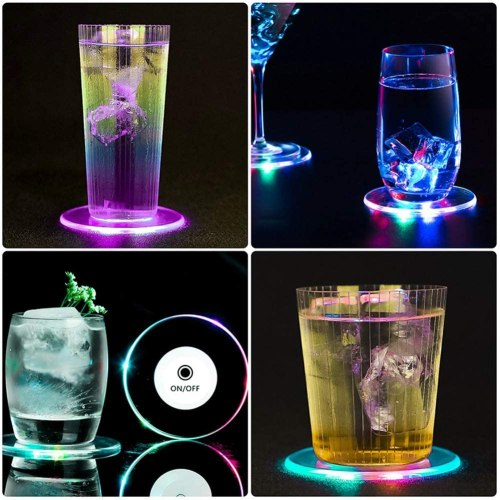 LED Cocktail Coaster,Acrylic Multi-Color Infinity Tunnel LED Drink Coaster Ultra-thin 3.90 In. Drink Coaster,Bar Beer Beverage Coasters for Club,Wedding, Bar, Party Decoration,3Pack