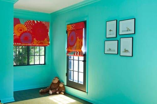 chambre d enfant bleu turquoise