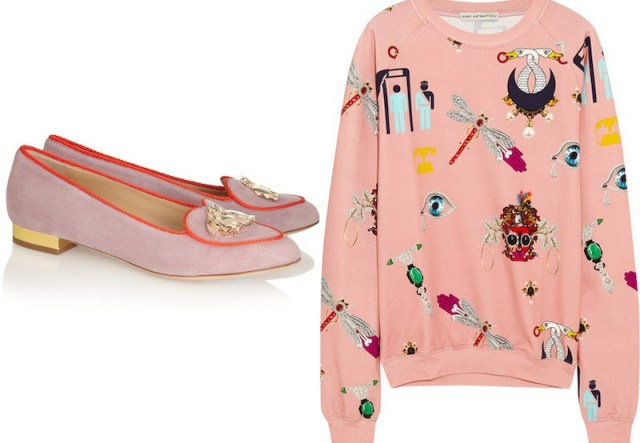 MARY KATRANTZOU, Printed stretch-cotton jersey sweatshirt, £420; CHARLOTTE OLYMPIA, 'Year of the Rabbit' suede slippers, £565
