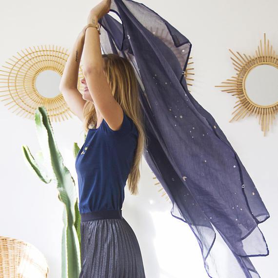 Maxi foulard en soie & coton LAUREMJOY