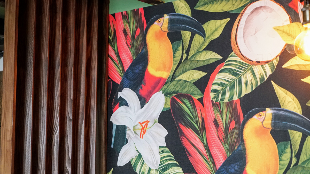 papier peint toucan tropical