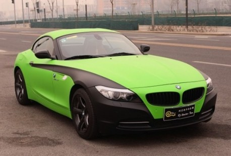 lime-green matte-black BMW Z4 from China