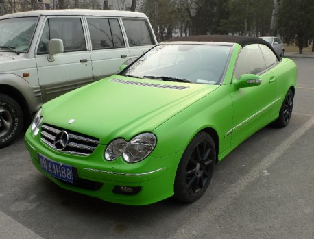 lime-green Mercedes-Benz CLK convertible