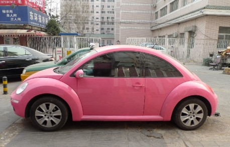 Pink Volkswagen New Beetle in China