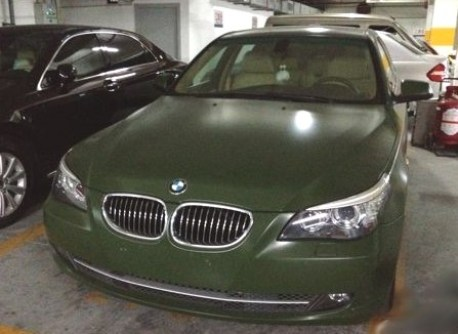 BMW 5-series in Army Green in China