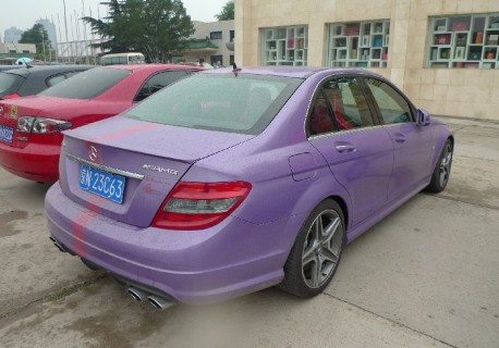 Mercedes-Benz C63 AMG in matte-purple in China