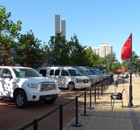Selling very gray automobiles from America on the Street in China