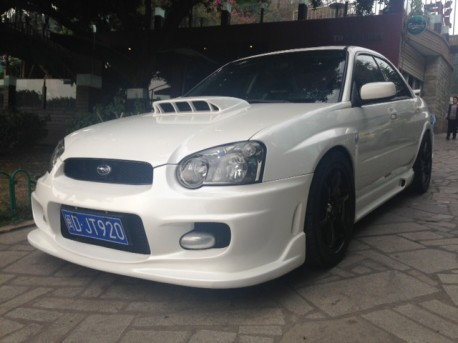 Subaru Impreza WRX STi is White with a body kit in China