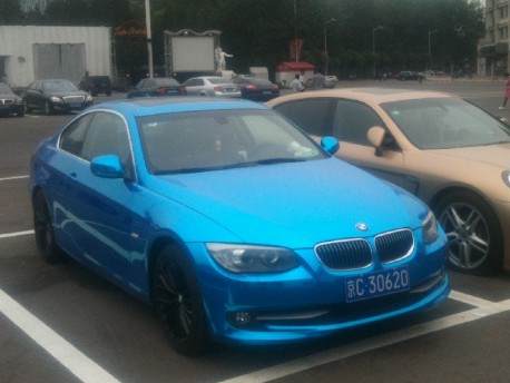 BMW 3-Series Coupe is shiny blue in China
