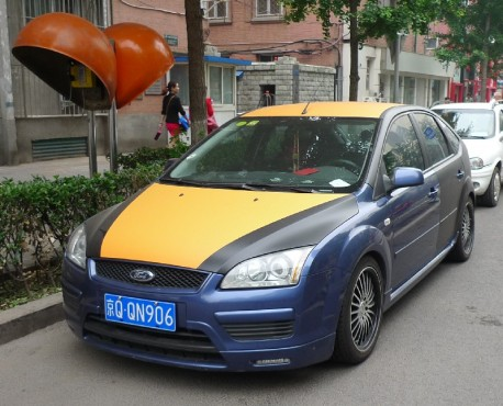 Ford Focus is blue, matte black, orange, and bright orange in China