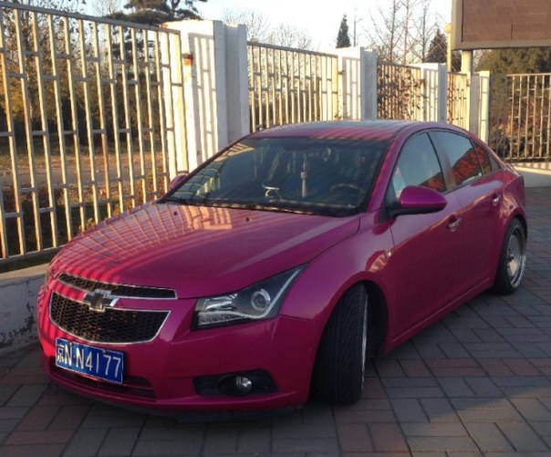 Chevrolet Cruze is a purple pink low rider in China