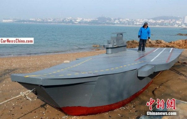 Chinese man builds mini aircraft carrier from scratch