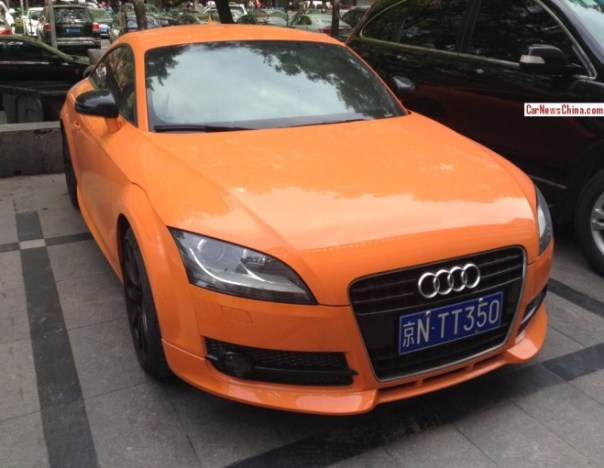 Audi TT is orange with a license in China