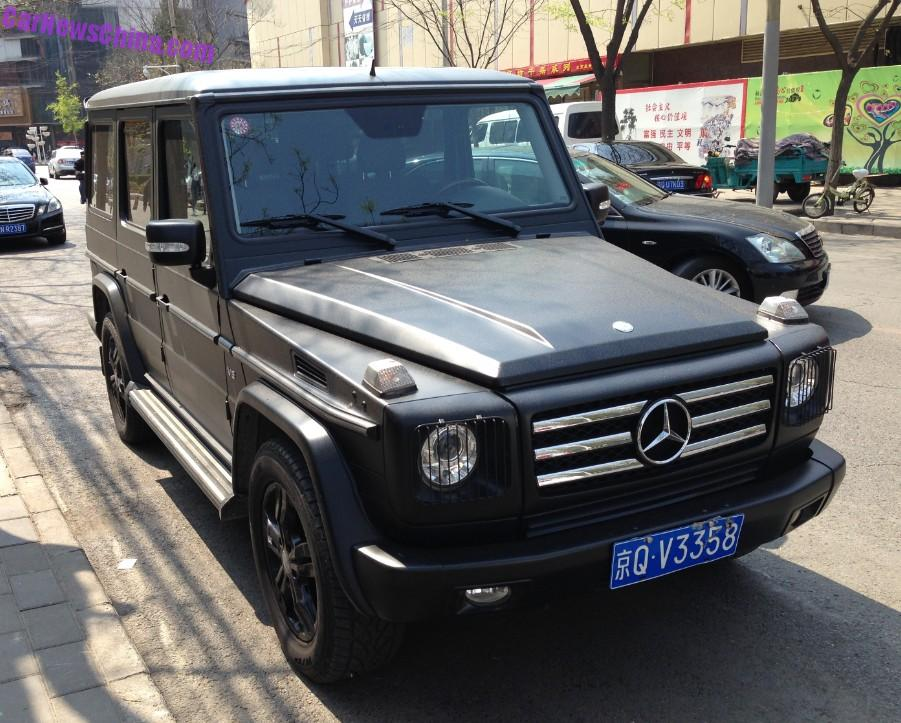 a giant mercedes benz g500 spotted in china in the lido area in beijing the good gee is wrapped in an eye weathering matte black wrap and further benzed - Mercedes G Class Matte Black