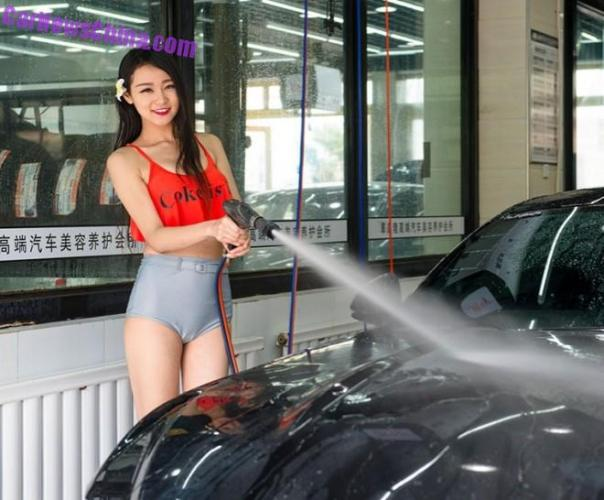 Underdressed Chinese Girls open a Car Wash in Urumqi