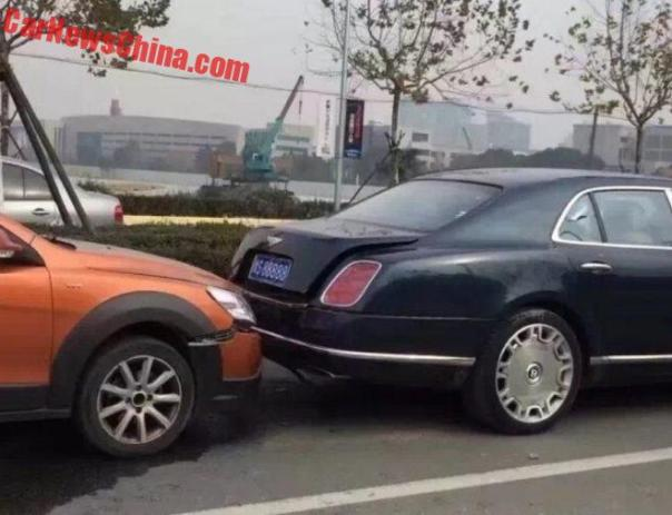 Lucky Bentley Mulsanne Rear-ended In China