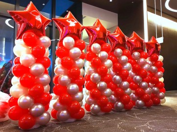 Red and Silver Balloon Star Pillars