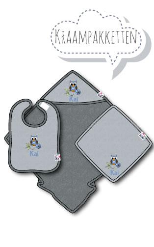Kraamcadeau met Naam en Geborduurd Figuurtje: Kraampakket met Naam en Geborduurd Figuurtje