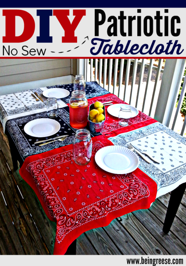 DIY No Sew Patriotic Tablecloth