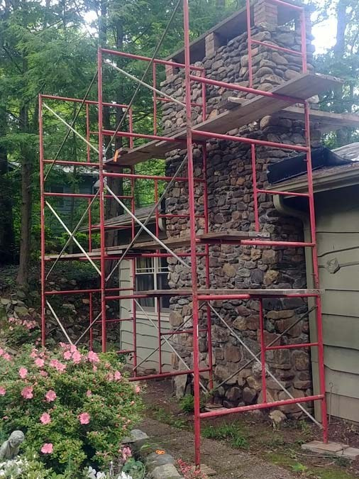 Stacked Stone Chimney
