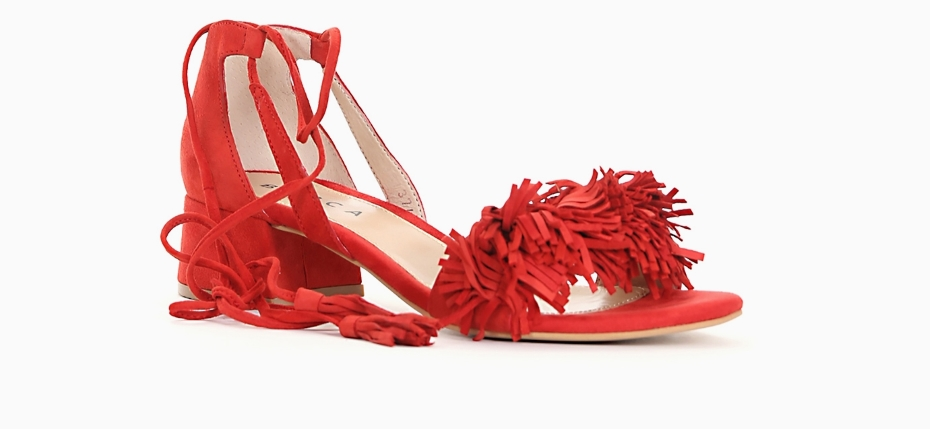 Sandali tacco basso rossi
