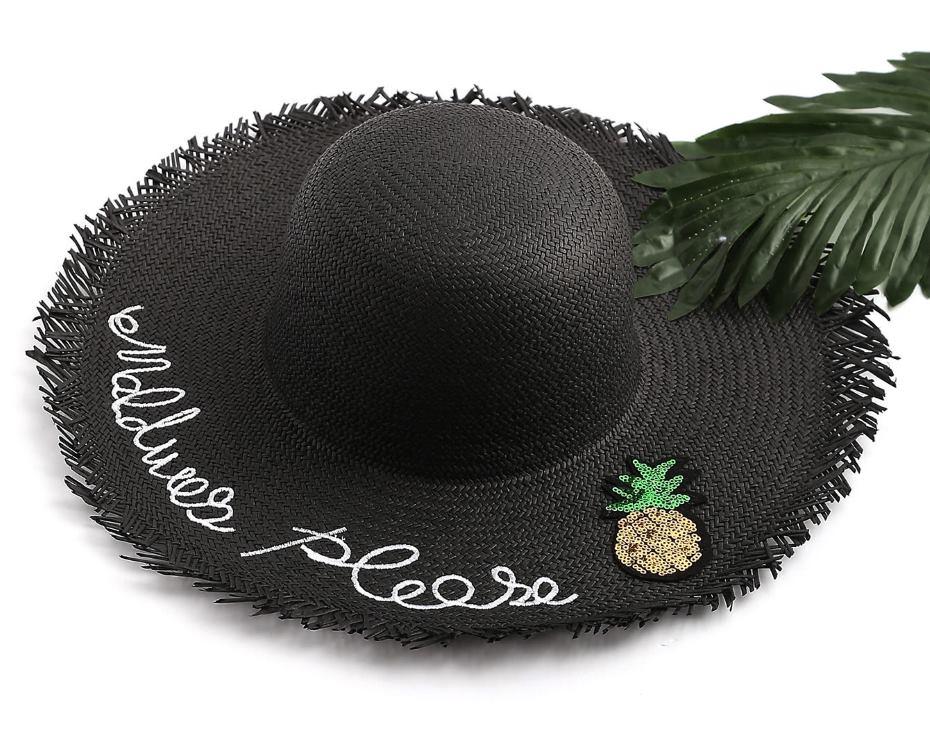 Cappello in paglia nero con scritta