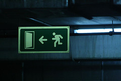Exit Sign In An Undergroung Parking Garage