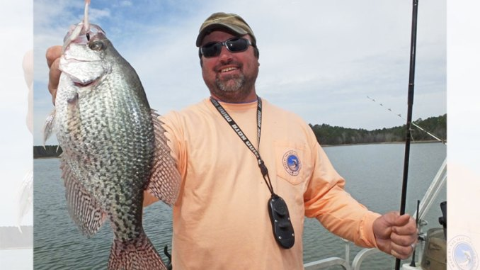 Guide Chris Simpson concentrates on crappie in the upper end of Clarks Hill Lake in March.