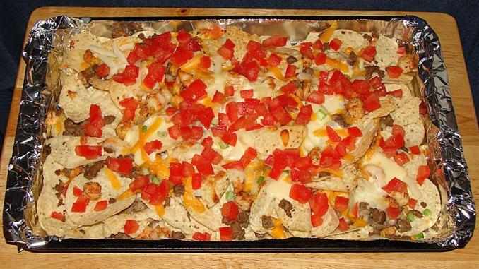 Venison sausage and shrimp nachos