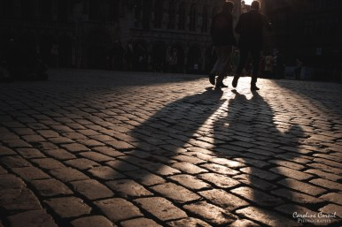 Brussels Grand Place cobbles shadows