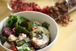 Red Quinoa, Chicken, & Goat Cheese Power Salad