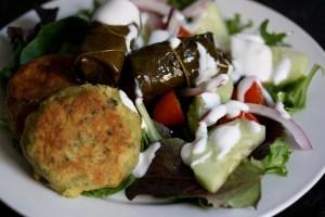 Mediterranean Chickpea Burgers on Salad
