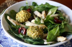 Grilled Chicken Salad with Warm, Pistachio-Crusted Goat Cheese