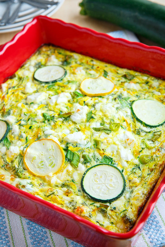 A light breakfast casserole made with zucchini and feta