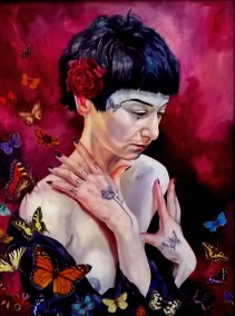 LAURA WITH BUTTERFLIES Oil on board