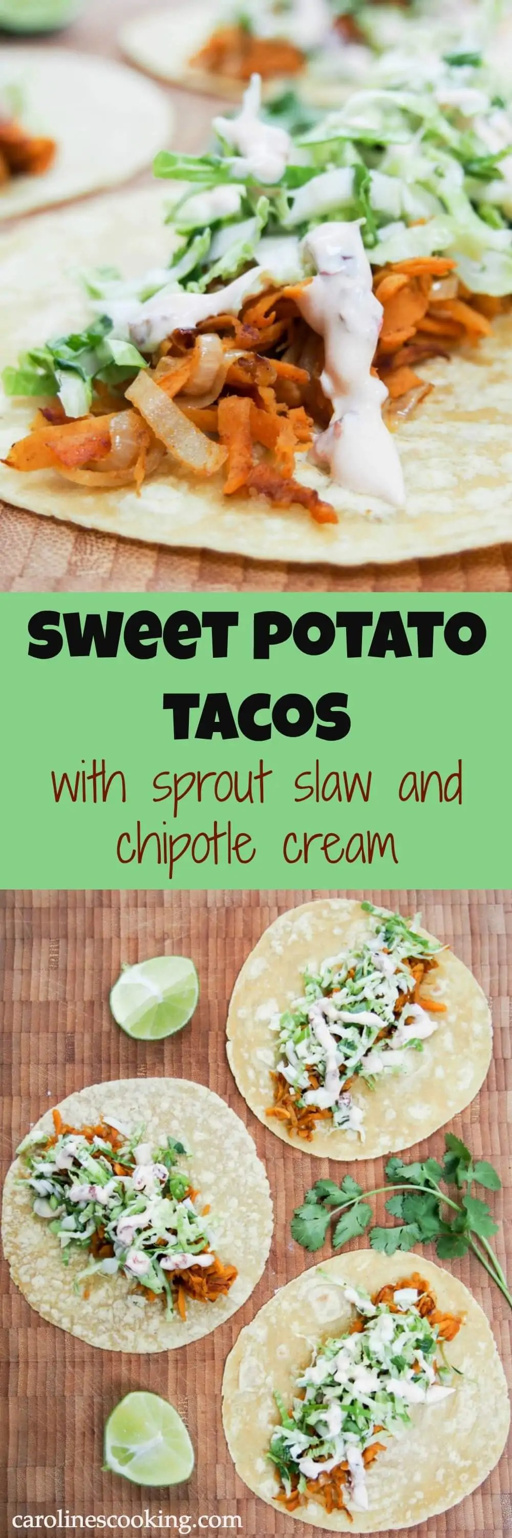 These sweet potato tacos are easy to make & thoroughly delicious. Gently spiced sweet potato, a crunchy, zesty slaw & a kick from chipotle cream. Vegetarian