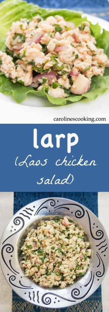 Larp is a classic Laos chicken salad, packed full of delicious flavor including lemongrass, lime, cilantro and chili. Healthy, flavorful, great for a picnic.