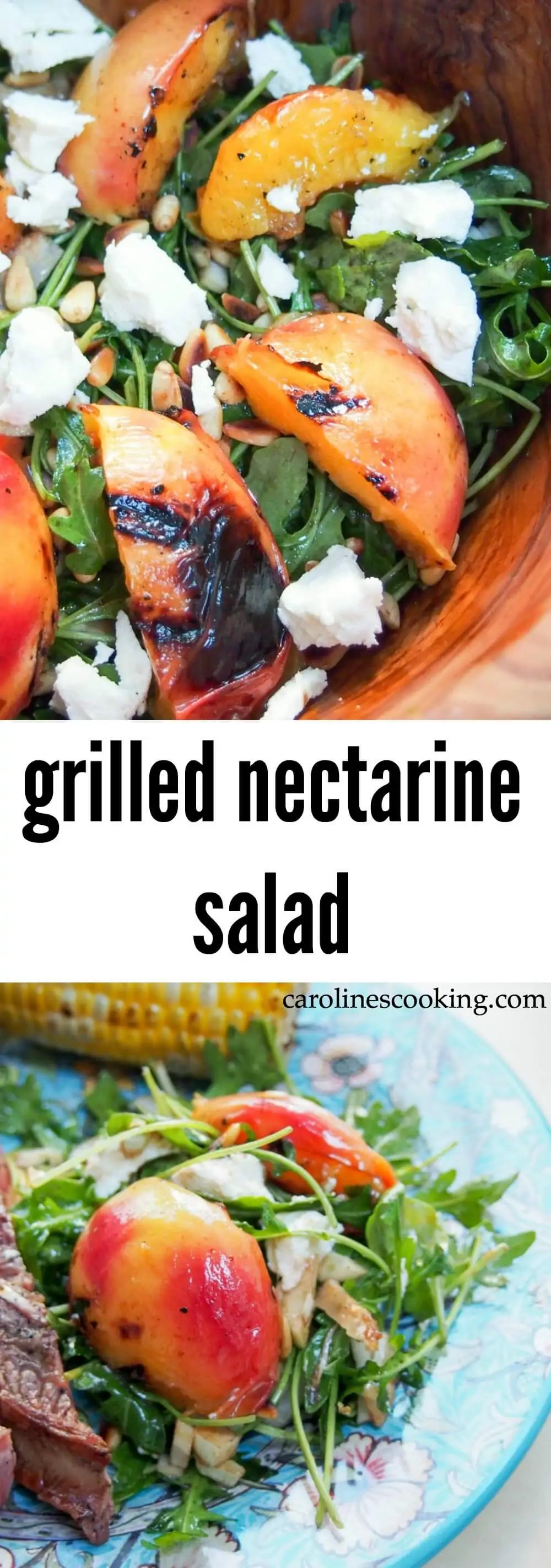 This grilled nectarine salad makes the perfect summer side: sweet, juicy nectarines, peppery arugula, smooth goat's cheese & crunchy pine nuts.