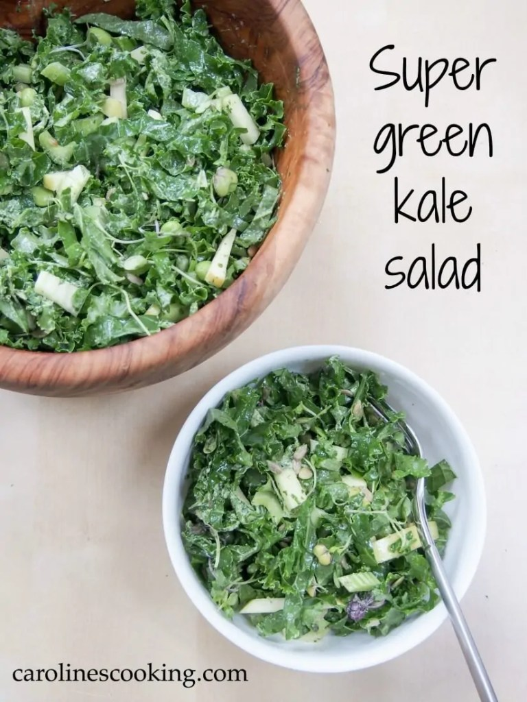 This super green kale salad is made with so many greens, from apple to edamame & seeds. All come together to make a super healthy, tasty lunch/side salad. Detox heaven!