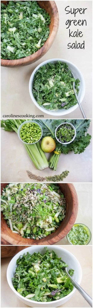 This super green kale salad is made with so many greens, from apple to edamame & seeds. All come together to make a super healthy, tasty lunch/side salad.