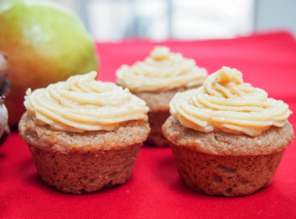 chestnut and pear cupcakes with caramel buttercream (GF)