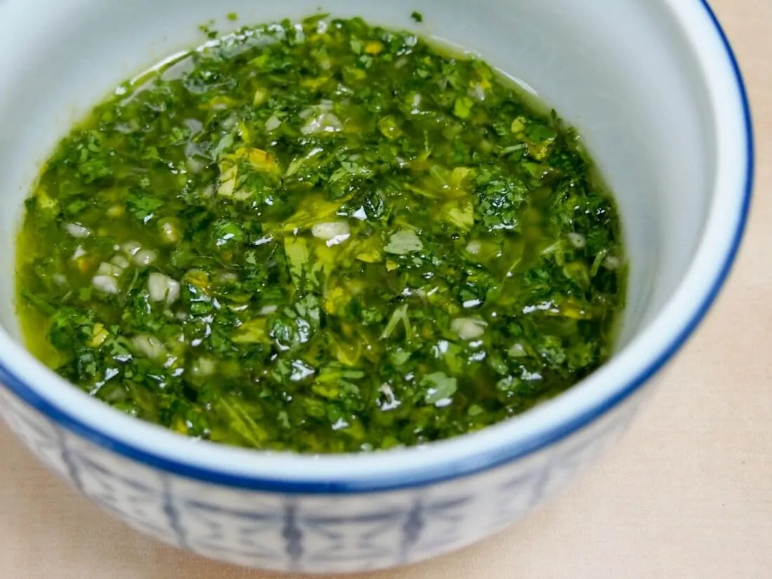 sauce for grilled butternut squash, zucchini & steak with chimichurri sauce