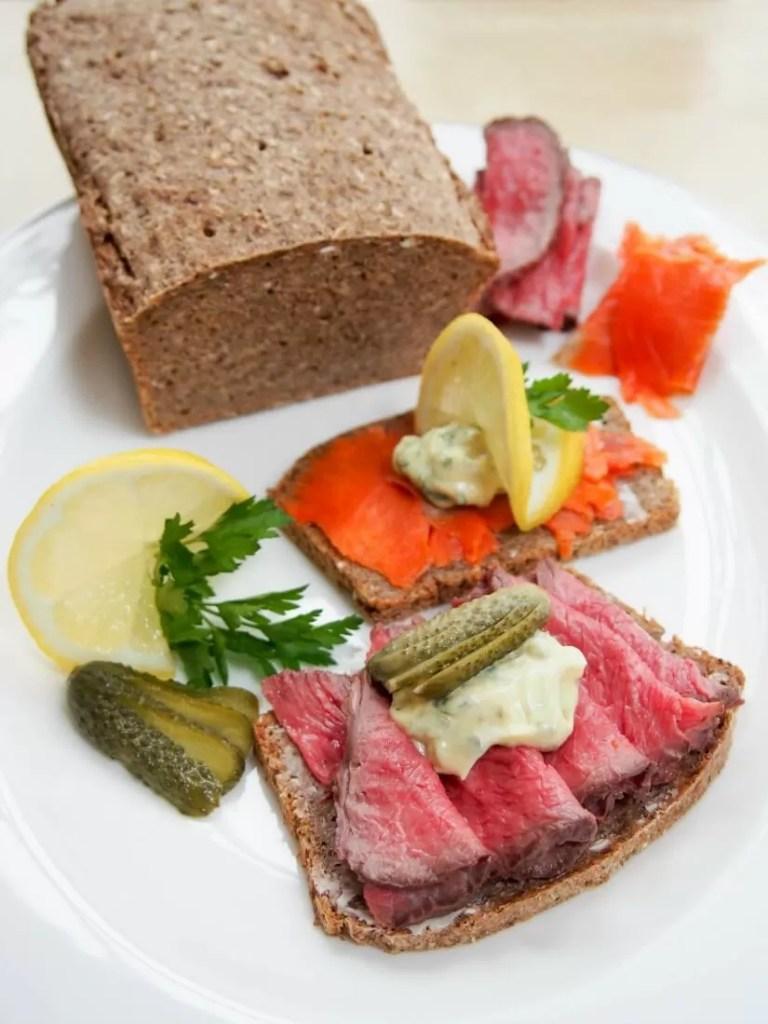 Danish smørrebrød (open sandwiches) with remoulade