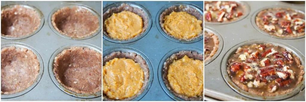 making healthier mini sweet potato pecan pies
