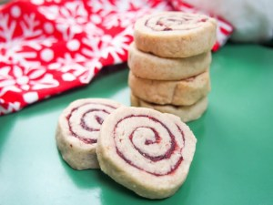Cranberry-pomegranate-filled shortbread spiral cookies